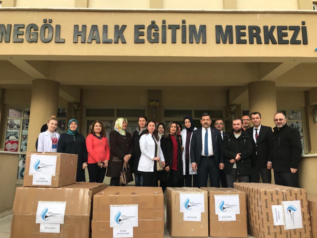 İdlip ve Elazığa Halk Eğitimi Merkezi Usta Öğretici ve Kursiyerlerden Yardım