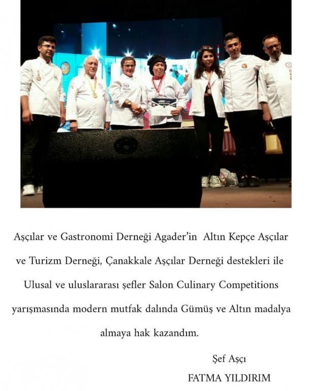 Uluslararası Şefler Culinary Competitions Gümüş ve Altın Madalya